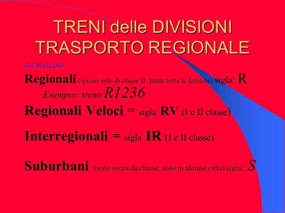 TRENI delle DIVISIONI TRASPORTO REGIONALE