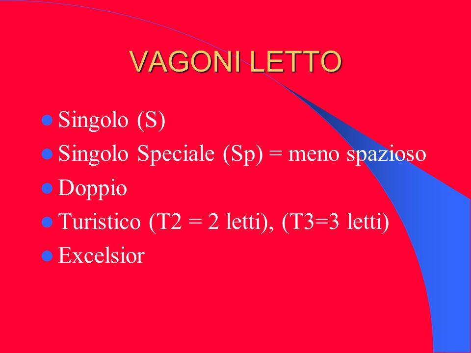 VAGONI LETTO Singolo (S) Singolo Speciale (Sp) = meno spazioso Doppio