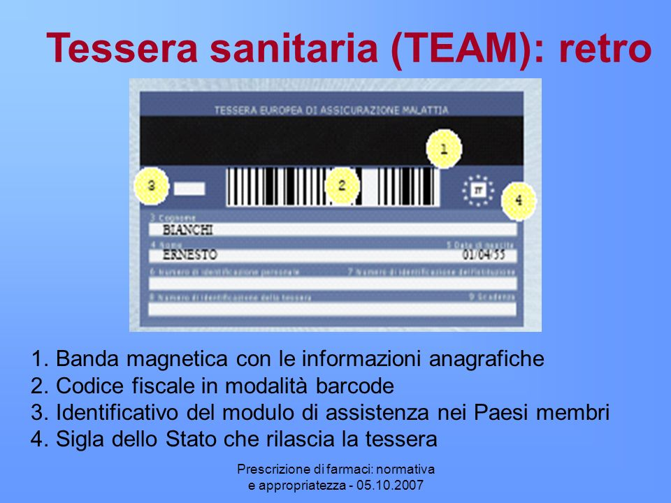 Tessera sanitaria (TEAM): retro