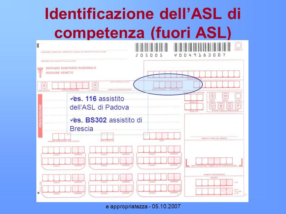 Identificazione dell'ASL di competenza (fuori ASL)
