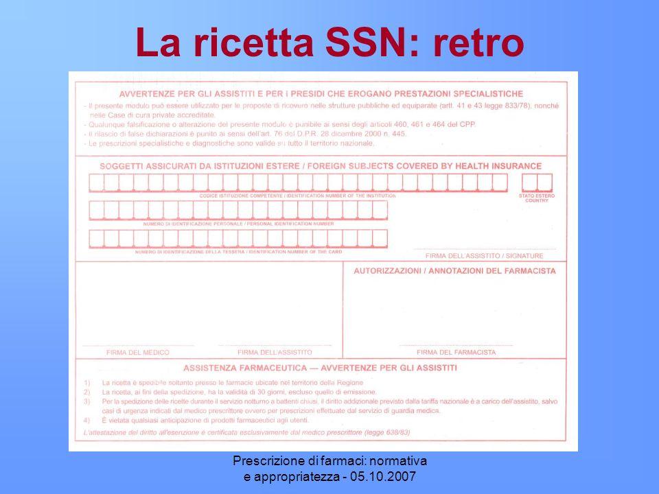 Prescrizione di farmaci: normativa e appropriatezza - 05.10.2007