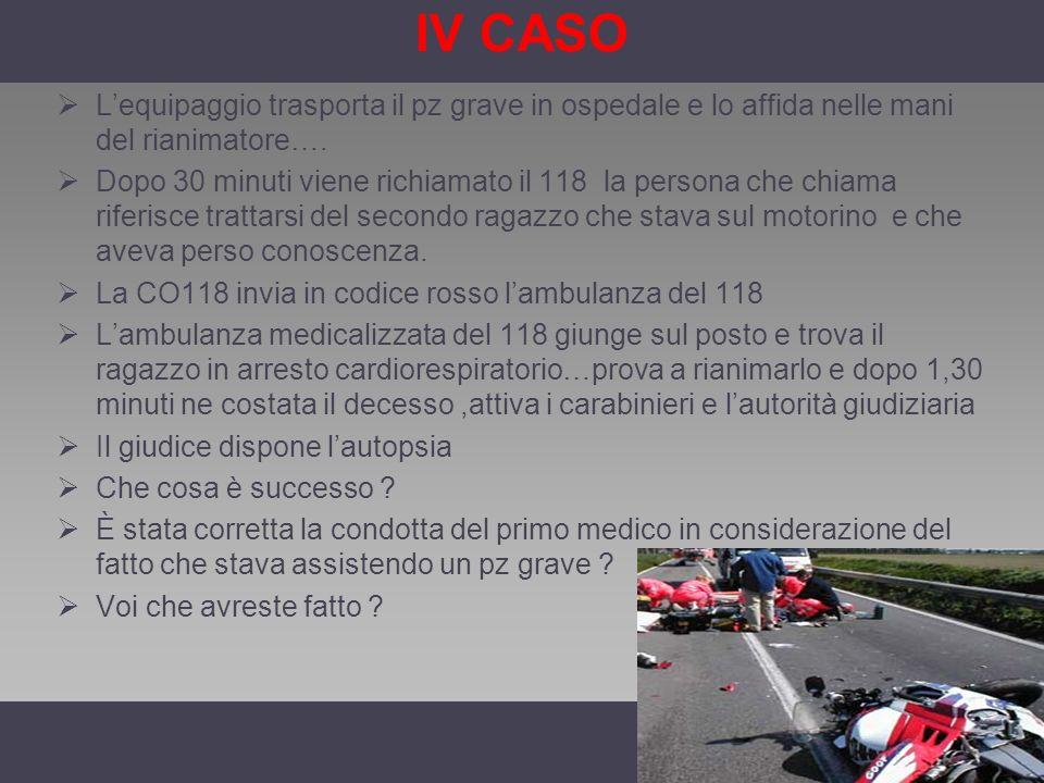 IV CASO L'equipaggio trasporta il pz grave in ospedale e lo affida nelle mani del rianimatore….