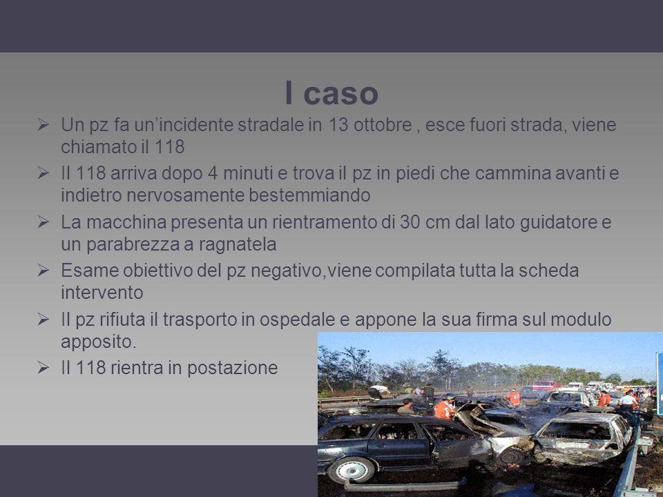 I caso Un pz fa un'incidente stradale in 13 ottobre , esce fuori strada, viene chiamato il 118.
