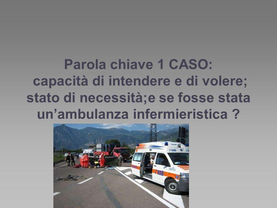 Parola chiave 1 CASO: capacità di intendere e di volere; stato di necessità;e se fosse stata un'ambulanza infermieristica