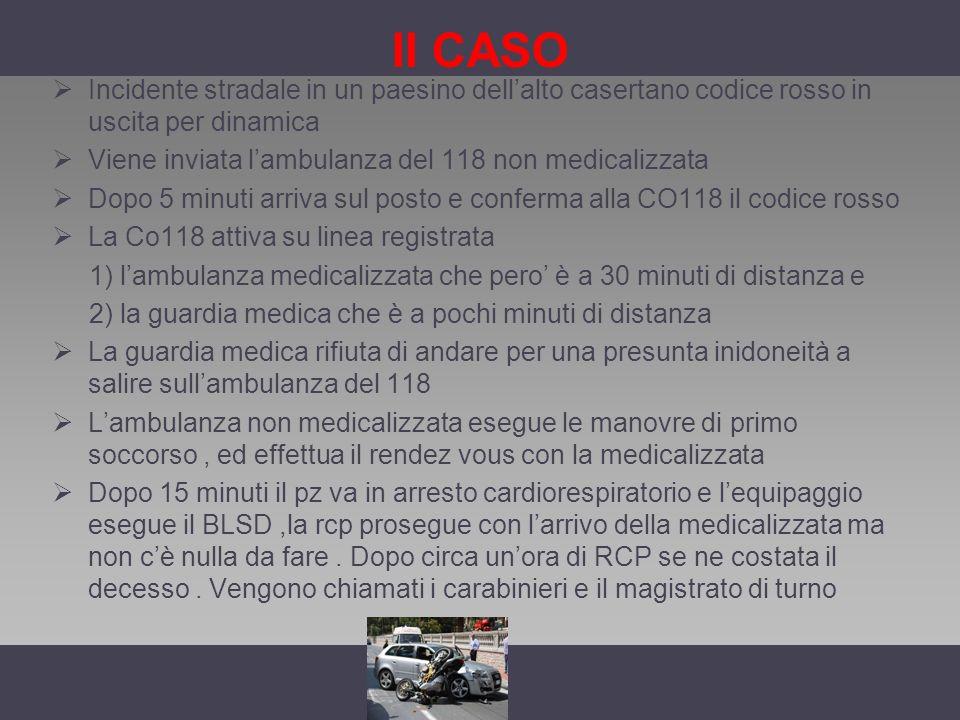 II CASO Incidente stradale in un paesino dell'alto casertano codice rosso in uscita per dinamica.