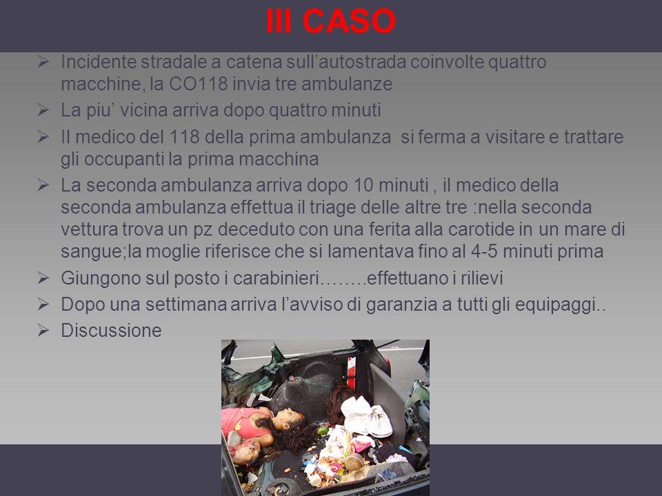 III CASO Incidente stradale a catena sull'autostrada coinvolte quattro macchine, la CO118 invia tre ambulanze.
