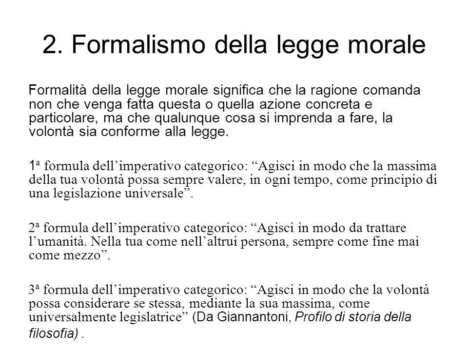 2. Formalismo della legge morale