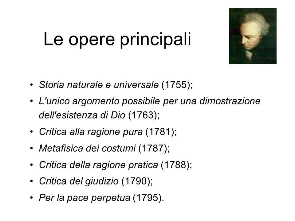 Le opere principali Storia naturale e universale (1755);