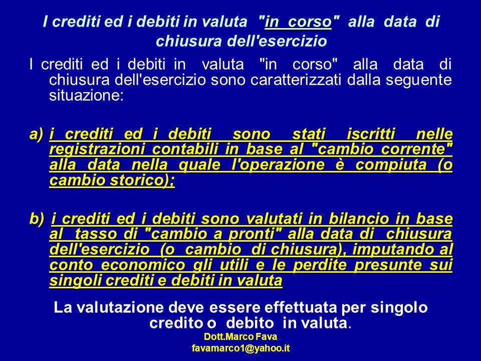 I crediti ed i debiti in valuta in corso alla data di chiusura dell esercizio
