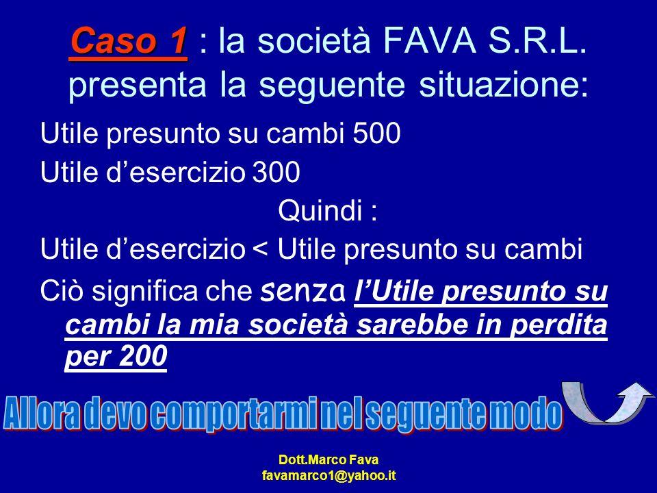 Caso 1 : la società FAVA S.R.L. presenta la seguente situazione: