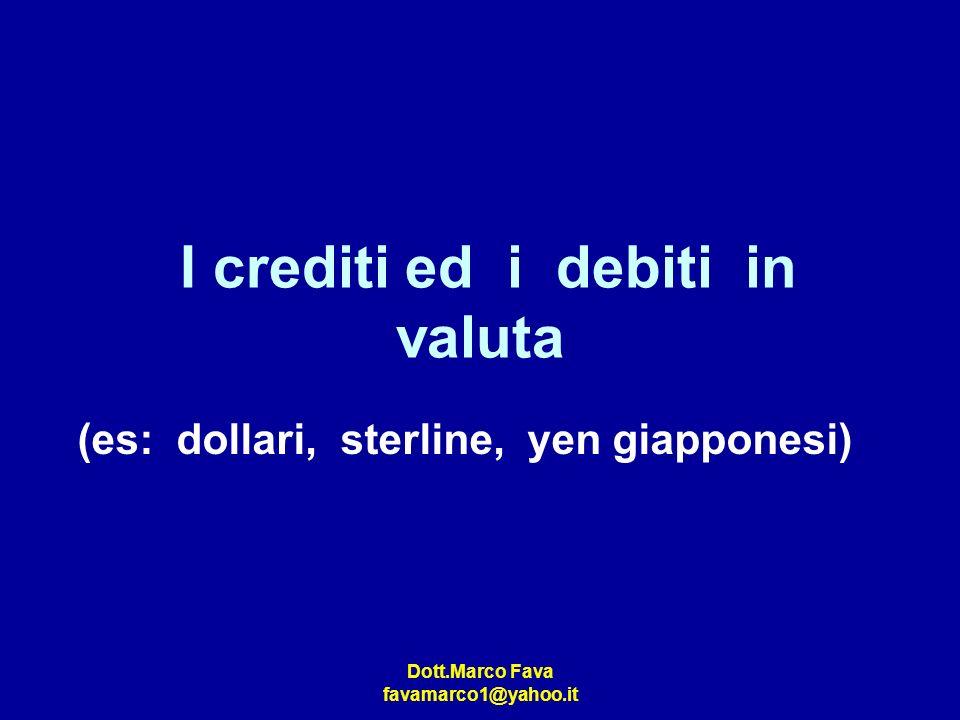 I crediti ed i debiti in valuta