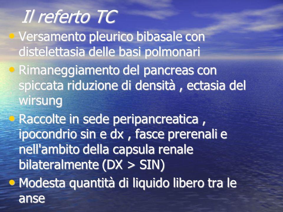 Il referto TC Versamento pleurico bibasale con distelettasia delle basi polmonari.