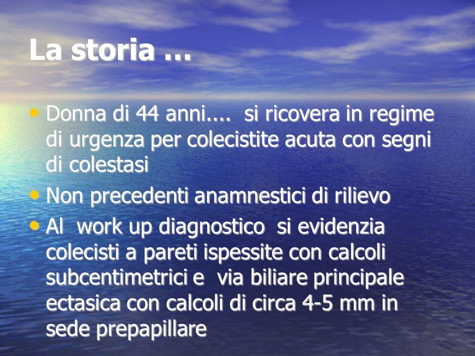 La storia … Donna di 44 anni.... si ricovera in regime di urgenza per colecistite acuta con segni di colestasi.