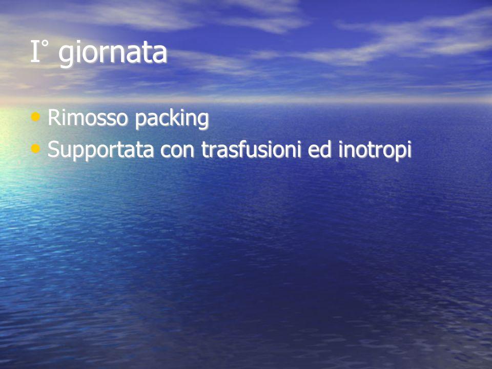 I° giornata Rimosso packing Supportata con trasfusioni ed inotropi