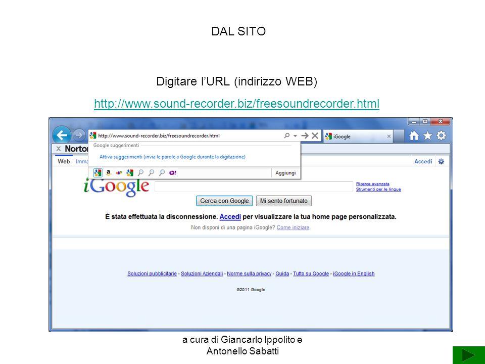 Digitare l'URL (indirizzo WEB)