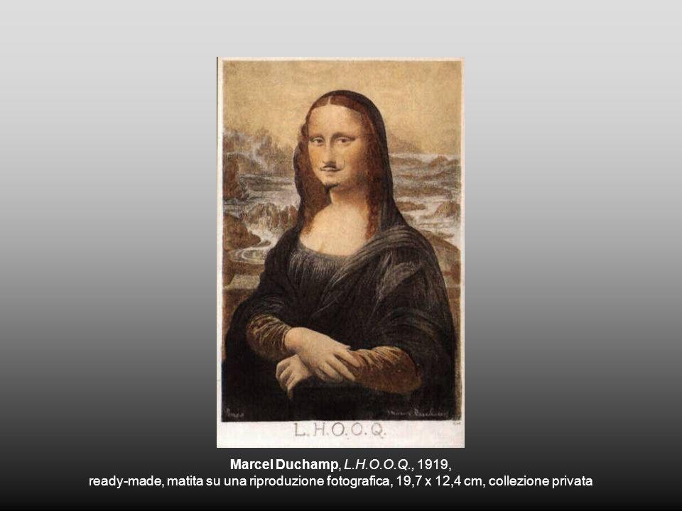 Marcel Duchamp, L.H.O.O.Q., 1919, ready-made, matita su una riproduzione fotografica, 19,7 x 12,4 cm, collezione privata.