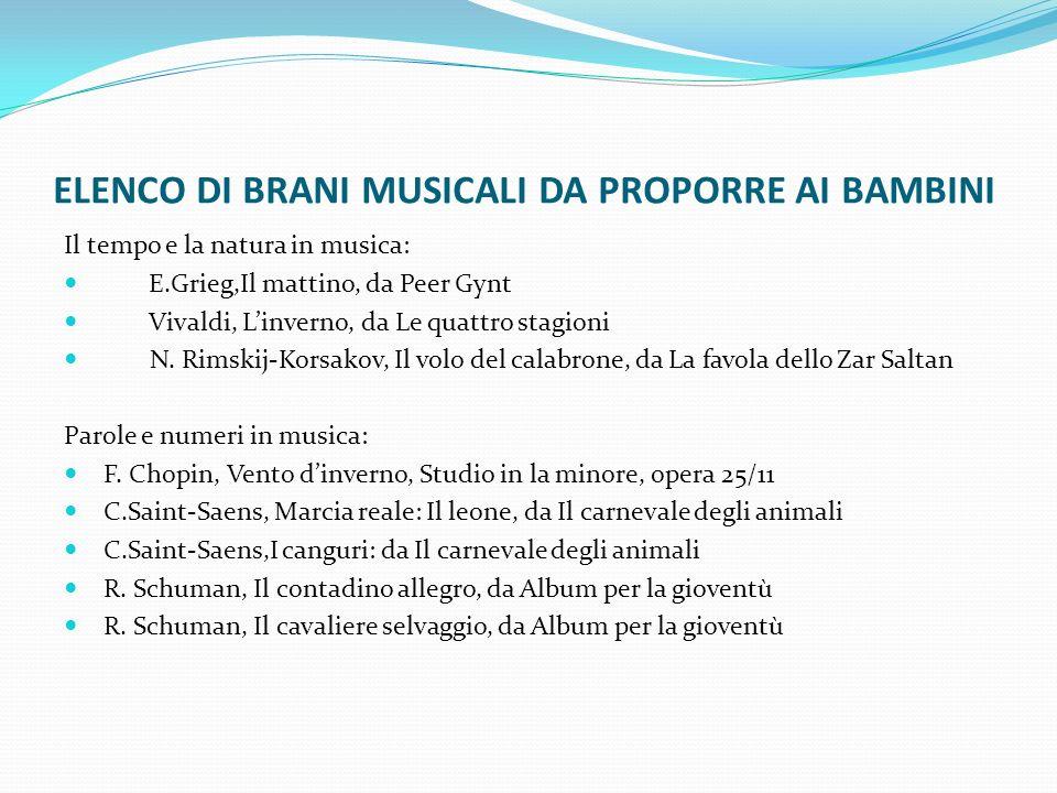 ELENCO DI BRANI MUSICALI DA PROPORRE AI BAMBINI