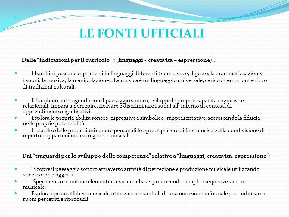 LE FONTI UFFICIALI. Dalle indicazioni per il curricolo : (linguaggi - creatività – espressione)...
