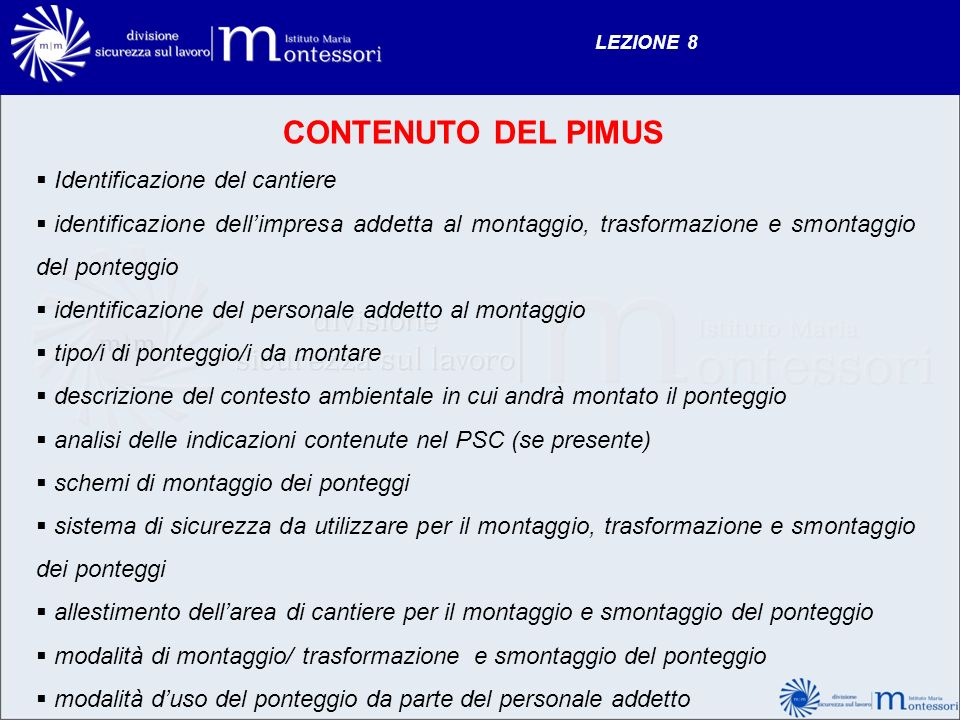 CONTENUTO DEL PIMUS Identificazione del cantiere