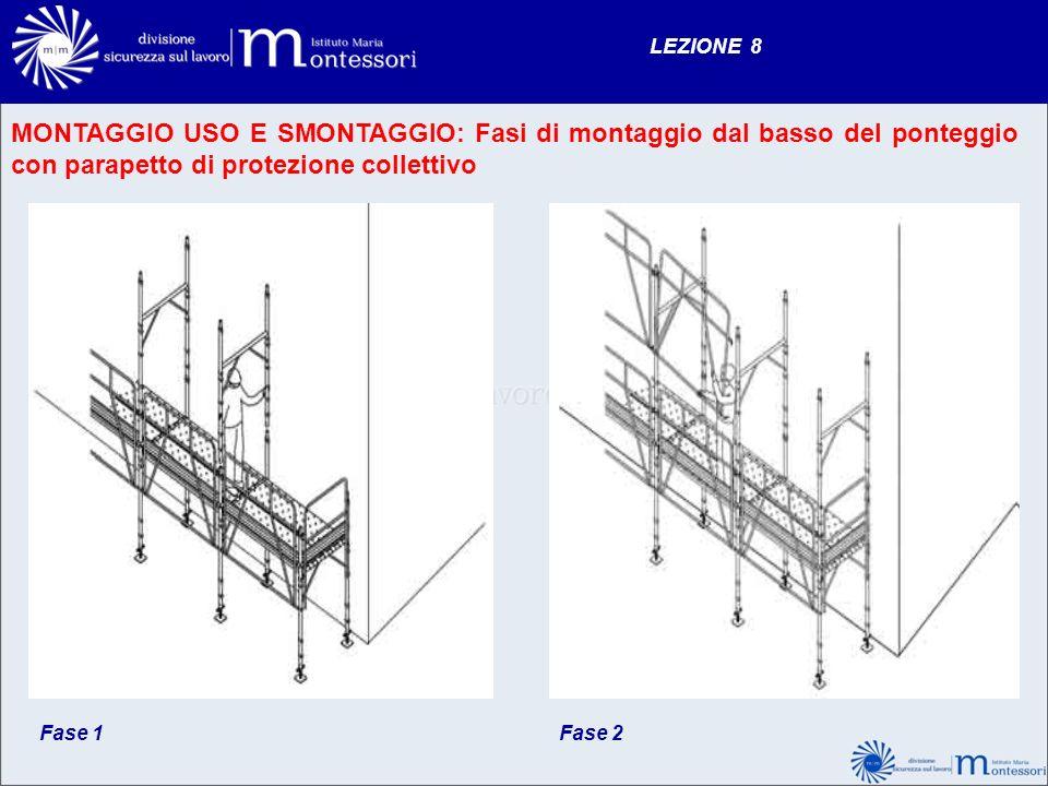 LEZIONE 8 MONTAGGIO USO E SMONTAGGIO: Fasi di montaggio dal basso del ponteggio con parapetto di protezione collettivo.
