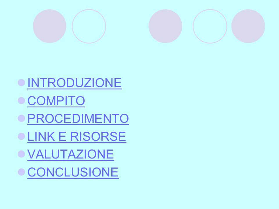INTRODUZIONE COMPITO PROCEDIMENTO LINK E RISORSE VALUTAZIONE CONCLUSIONE