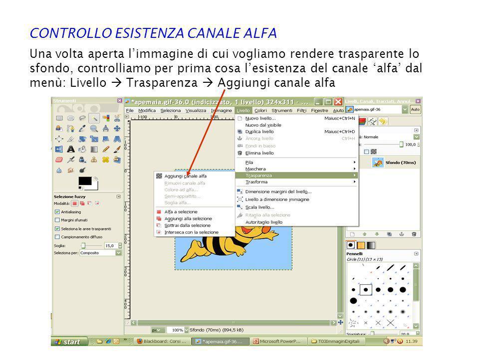 CONTROLLO ESISTENZA CANALE ALFA