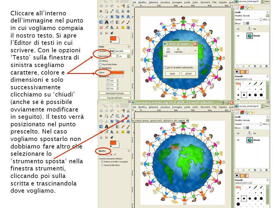 Cliccare all'interno dell'immagine nel punto in cui vogliamo compaia il nostro testo.