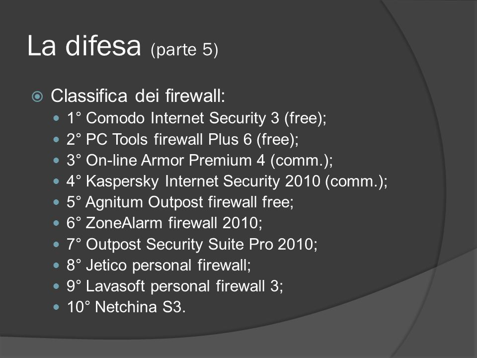 La difesa (parte 5) Classifica dei firewall:
