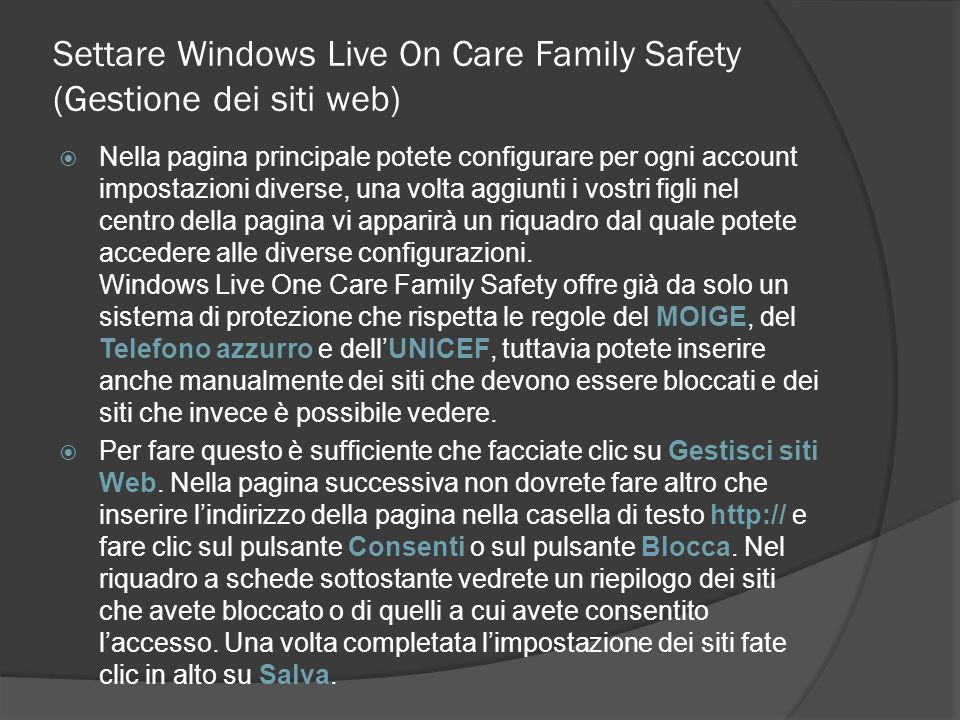 Settare Windows Live On Care Family Safety (Gestione dei siti web)
