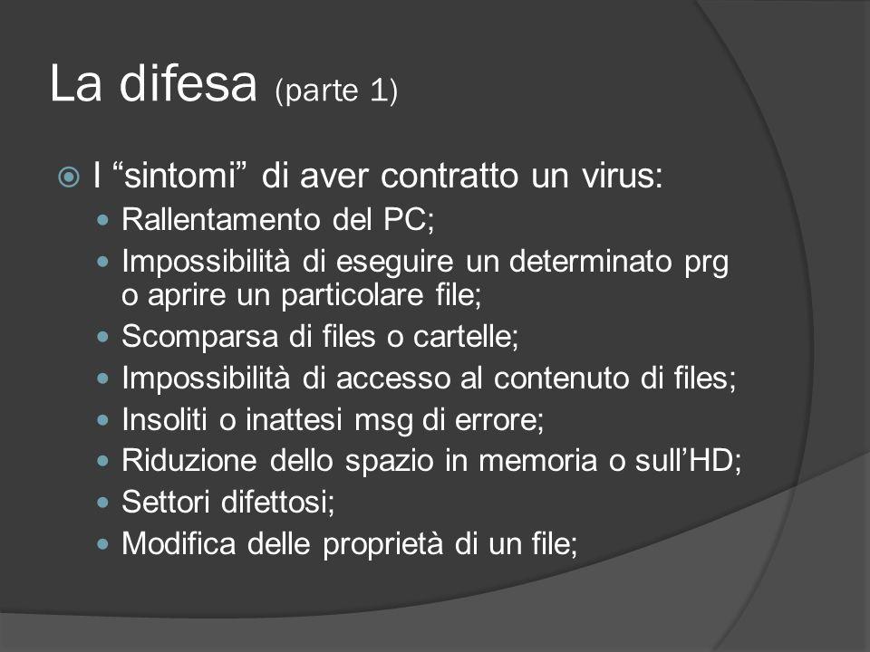 La difesa (parte 1) I sintomi di aver contratto un virus: