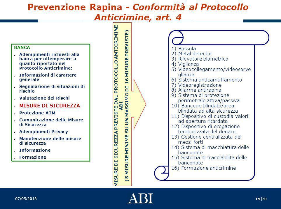 Prevenzione Rapina - Conformità al Protocollo Anticrimine, art. 4