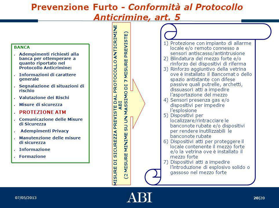 Prevenzione Furto - Conformità al Protocollo Anticrimine, art. 5