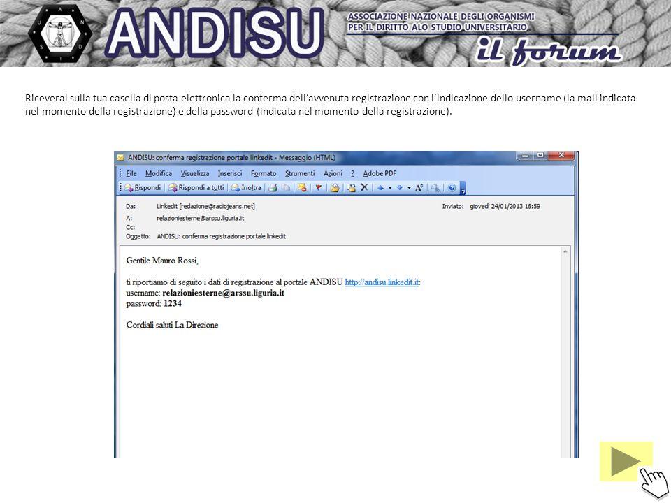 Riceverai sulla tua casella di posta elettronica la conferma dell'avvenuta registrazione con l'indicazione dello username (la mail indicata nel momento della registrazione) e della password (indicata nel momento della registrazione).