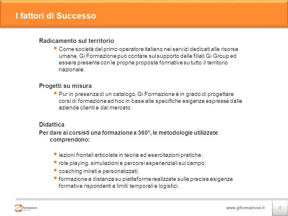 I fattori di Successo Radicamento sul territorio Progetti su misura
