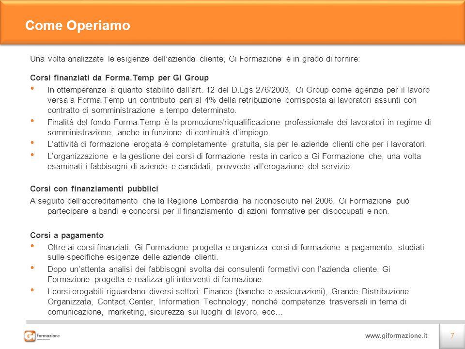 Come OperiamoUna volta analizzate le esigenze dell'azienda cliente, Gi Formazione è in grado di fornire: