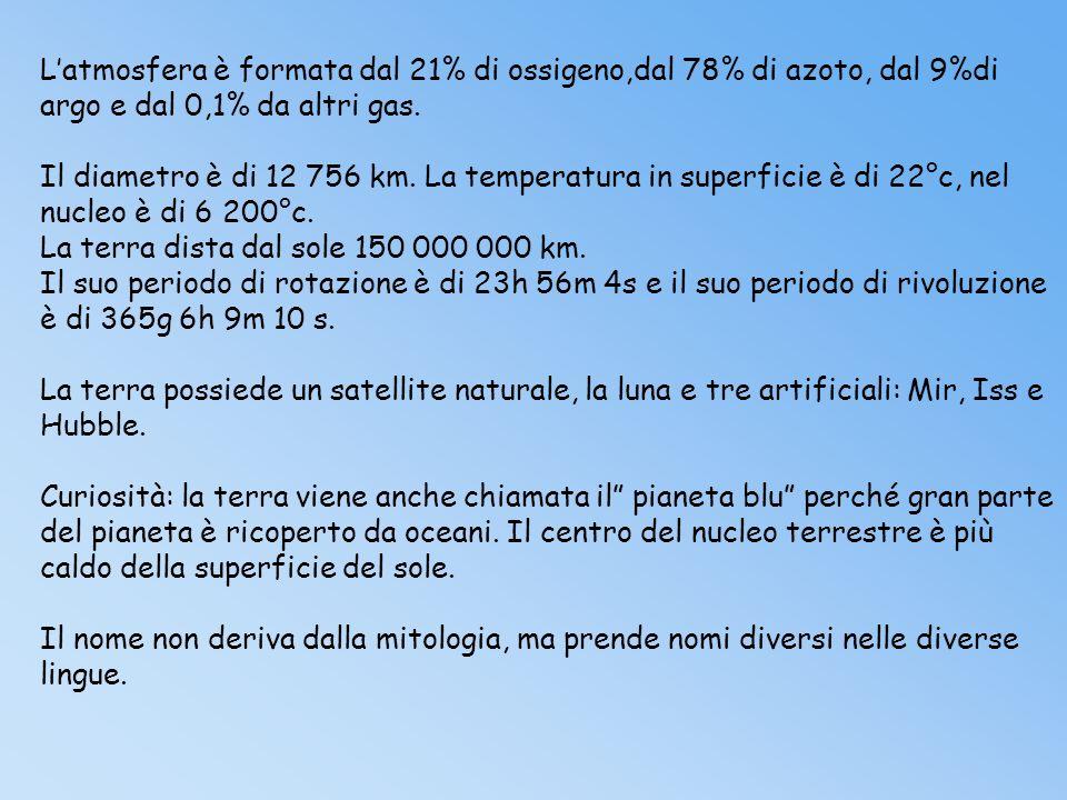 L'atmosfera è formata dal 21% di ossigeno,dal 78% di azoto, dal 9%di argo e dal 0,1% da altri gas.
