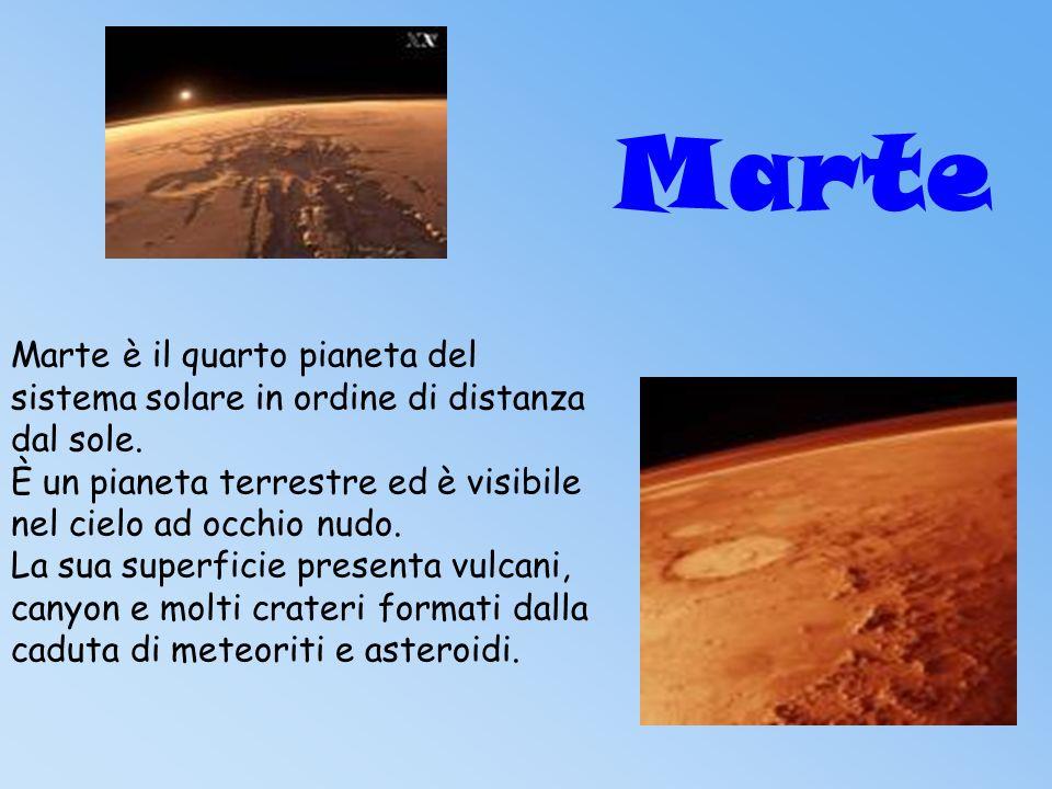 Marte Marte è il quarto pianeta del sistema solare in ordine di distanza dal sole. È un pianeta terrestre ed è visibile nel cielo ad occhio nudo.
