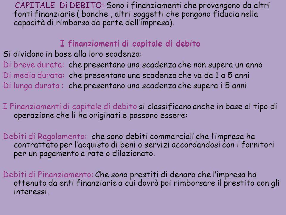 CAPITALE Di DEBITO: Sono i finanziamenti che provengono da altri fonti finanziarie ( banche , altri soggetti che pongono fiducia nella capacità di rimborso da parte dell'impresa).