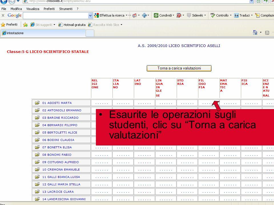 Esaurite le operazioni sugli studenti, clic su Torna a carica valutazioni