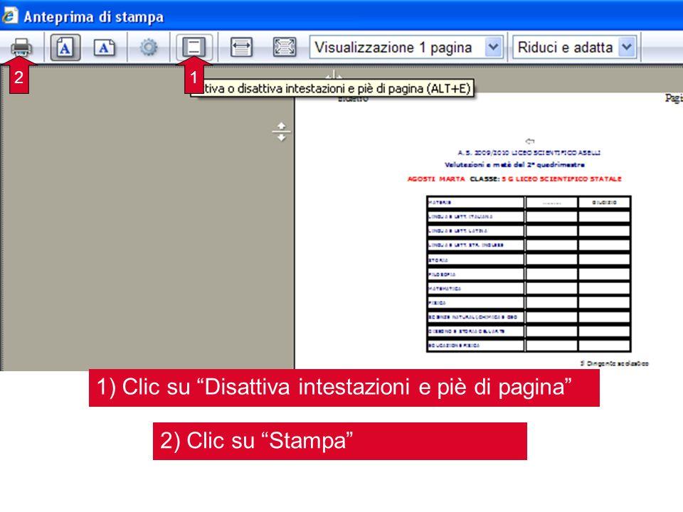 1) Clic su Disattiva intestazioni e piè di pagina