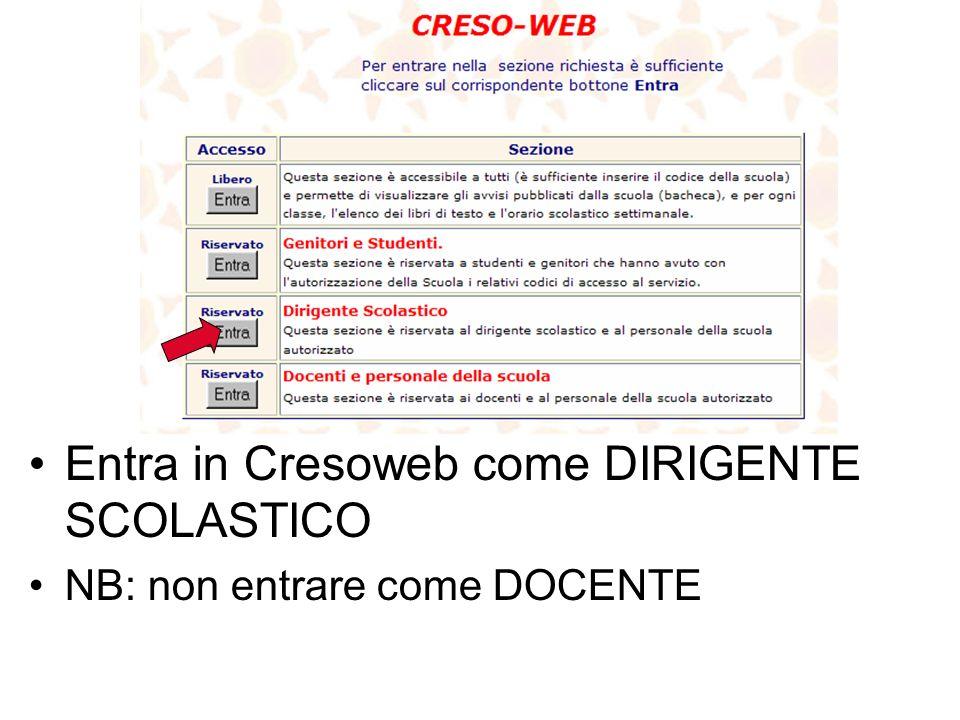 Entra in Cresoweb come DIRIGENTE SCOLASTICO