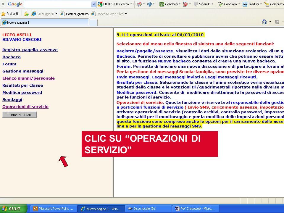 CLIC SU OPERAZIONI DI SERVIZIO
