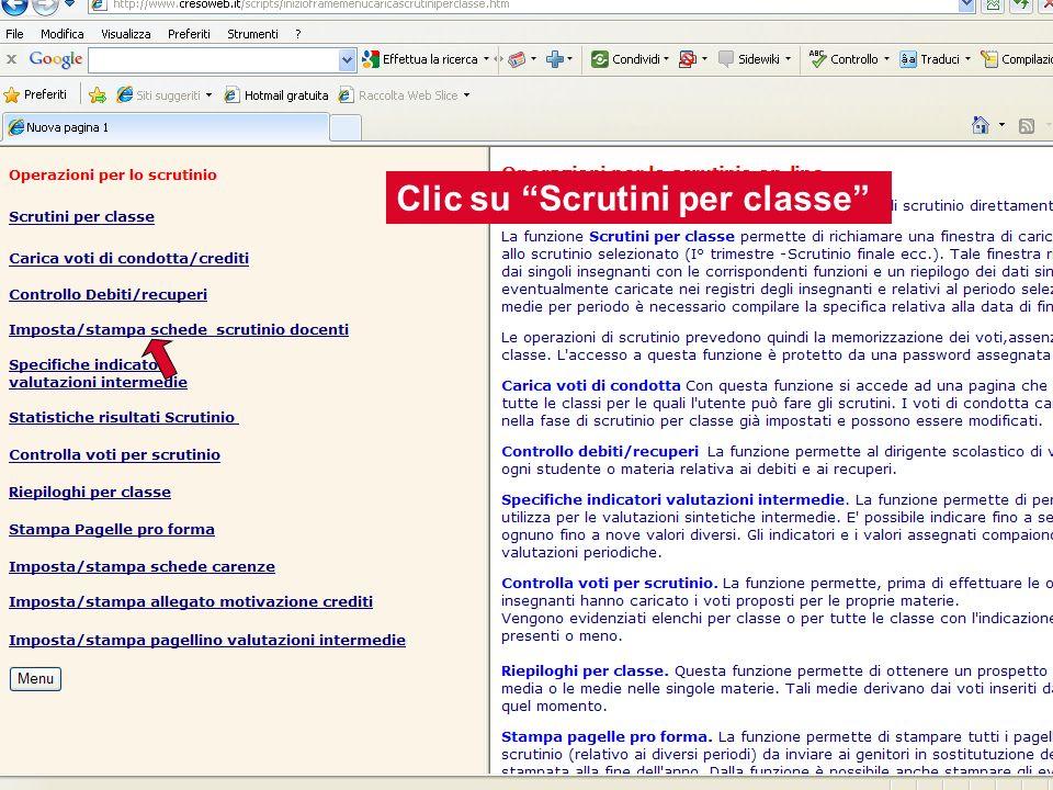 Clic su Scrutini per classe