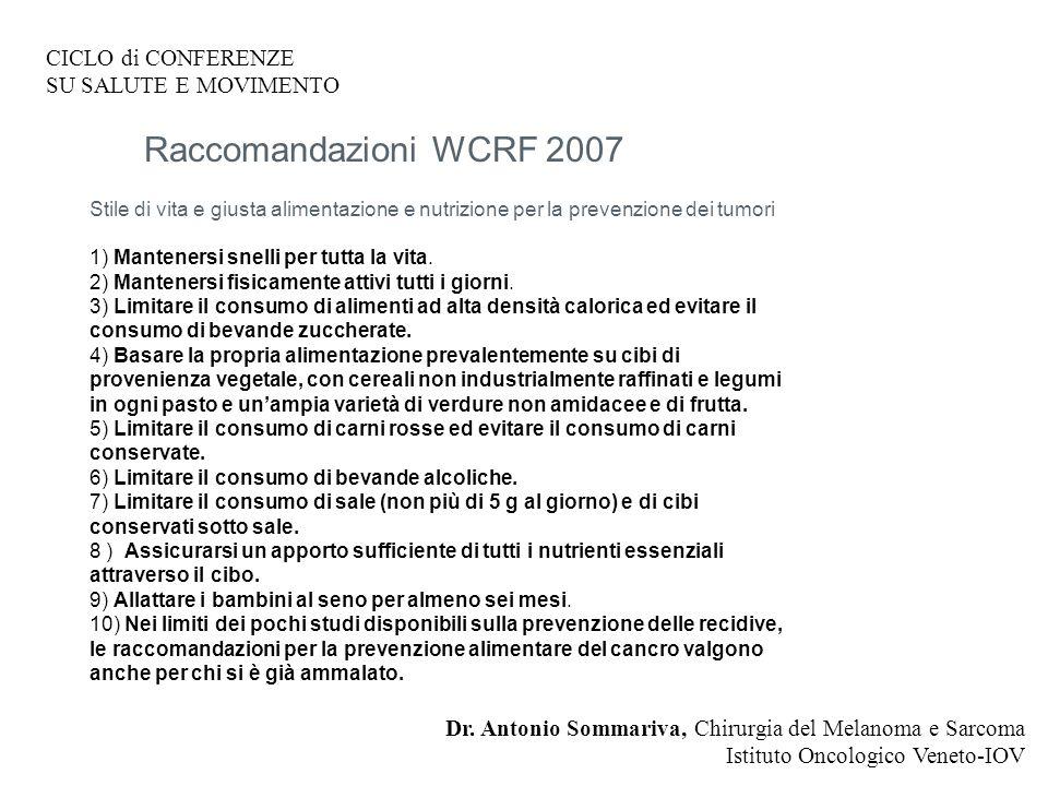 Raccomandazioni WCRF 2007 CICLO di CONFERENZE SU SALUTE E MOVIMENTO