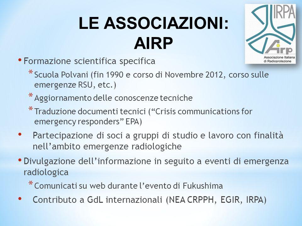 LE ASSOCIAZIONI: AIRP Formazione scientifica specifica
