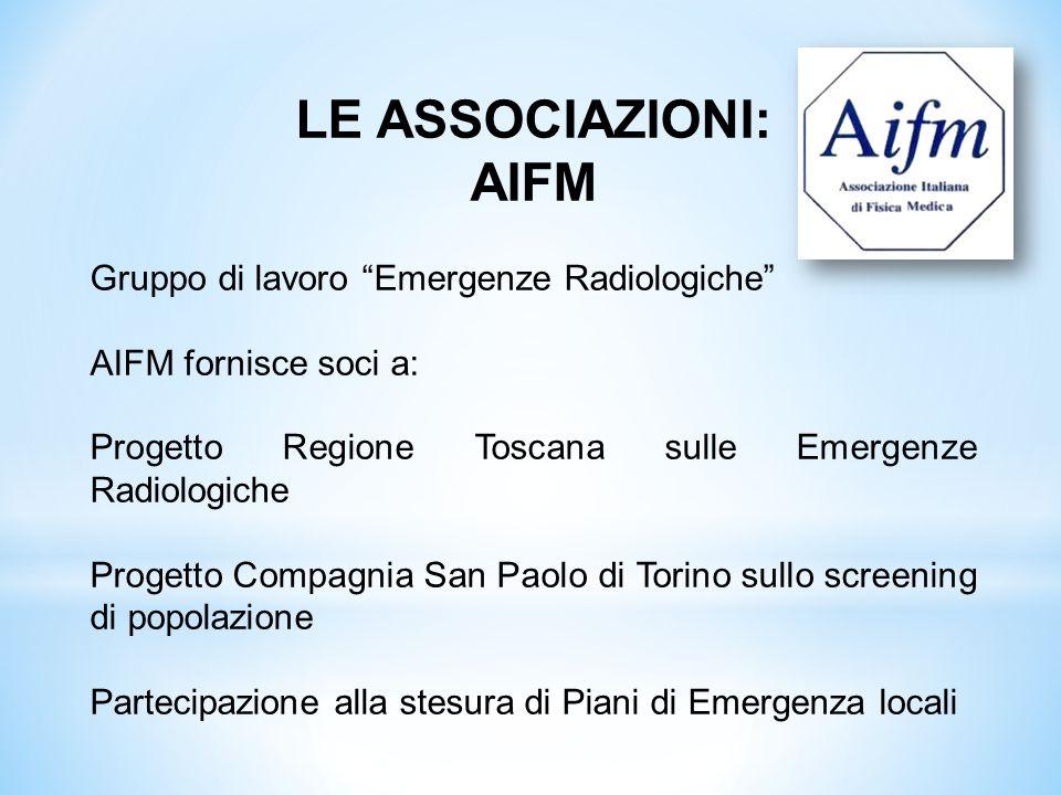 LE ASSOCIAZIONI: AIFM Gruppo di lavoro Emergenze Radiologiche