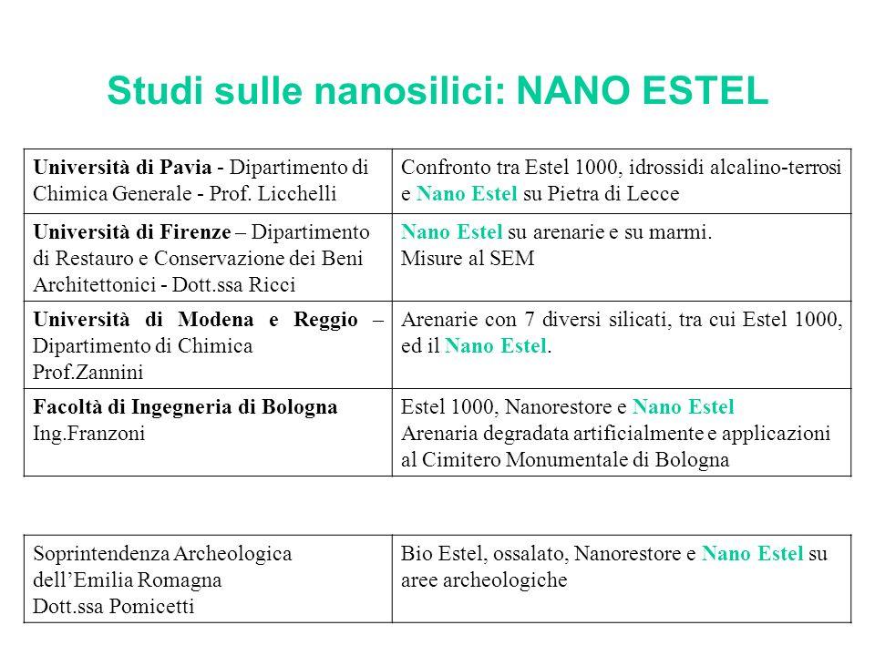 Studi sulle nanosilici: NANO ESTEL