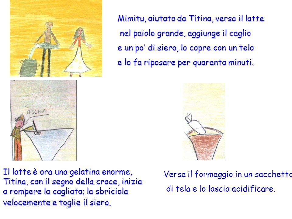 Mimitu, aiutato da Titina, versa il latte