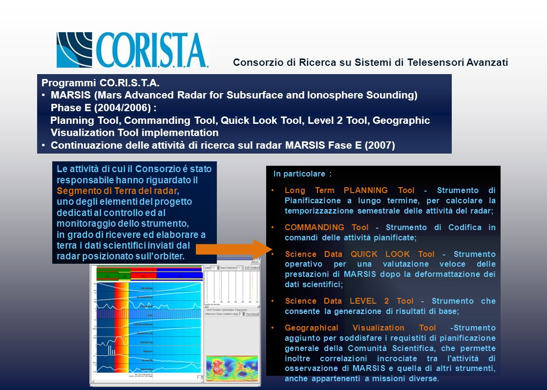 Continuazione delle attività di ricerca sul radar MARSIS Fase E (2007)
