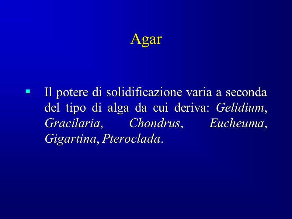 Agar Il potere di solidificazione varia a seconda del tipo di alga da cui deriva: Gelidium, Gracilaria, Chondrus, Eucheuma, Gigartina, Pteroclada.